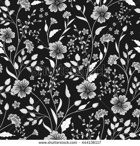 By https images clipartof com small 82842 black and white floral patterned wallpaper background poster art print jpg