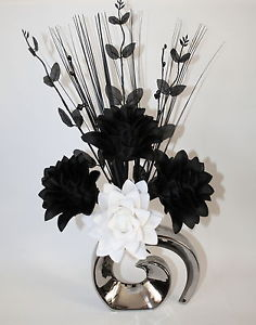 Black And White Silk Flowers Same Day Flower Delivery