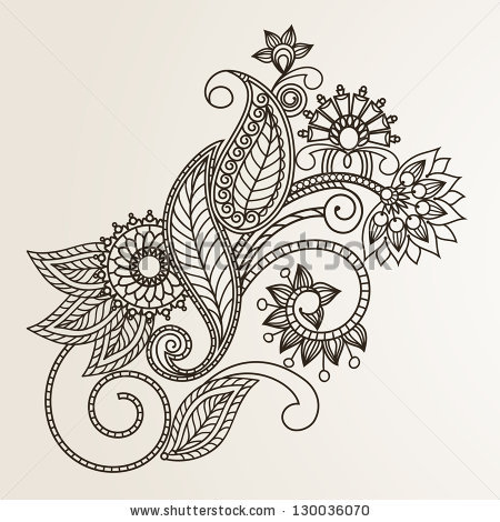 Flower Bouquet Tattoo Stock Vector Floral Pattern Hand Drawing