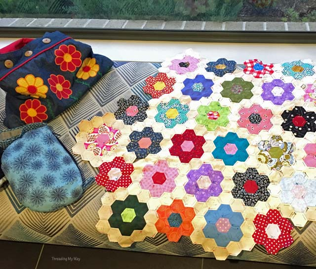 Hexagon Grandmother's Flower Garden Quilt