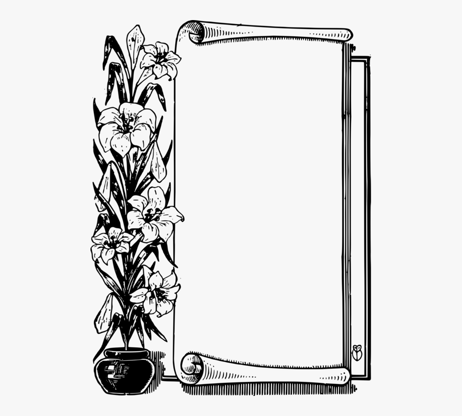 Flower Frame Black And White